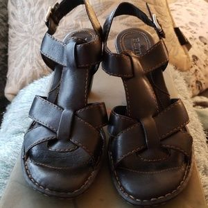 Born Black leather heeled sandals